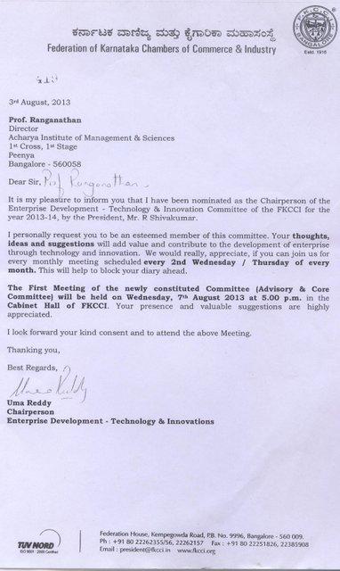 Member of Federation of Karnataka Chamber of Commerce