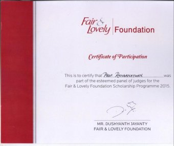 Fair and Lovely Certificate