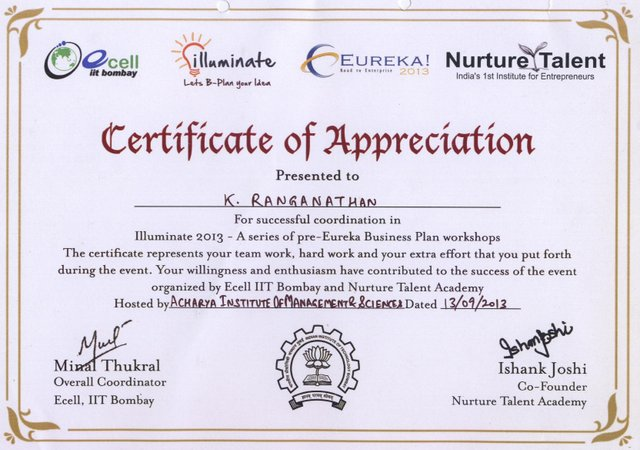 Certificate of Appreciation from IIT Bombay
