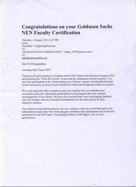 Goldman Sachs NEN Faculty Certification